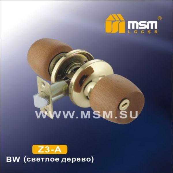 Ручка защелка c ключом Z3-R BW MSM  (светлое дерево б/лака)