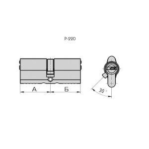 "Цилиндровый механизм КРИТ ""PERFO"" Р-220(90)-Хп ключ-ключ хром полир."