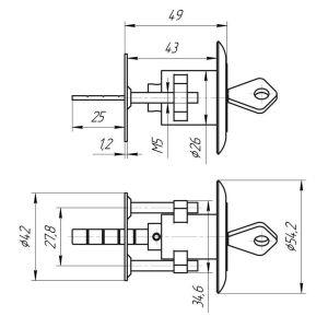 Цилиндровый механизм Зенит МЦ10-6 хром