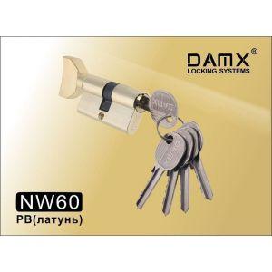 Цилиндровый механизм DAMX NW60 PB ключ-вертушка полированная латунь