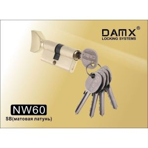 Цилиндровый механизм DAMX NW60 SB ключ-вертушка матовая латунь