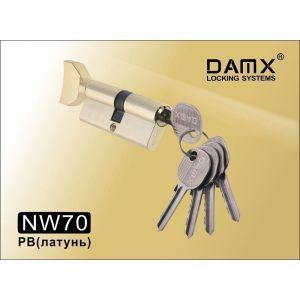 Цилиндровый механизм DAMX NW70 PB ключ-вертушка полированная латунь