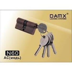 Цилиндровый механизм обычный ключ-ключ N60mm DOMAX AC медь