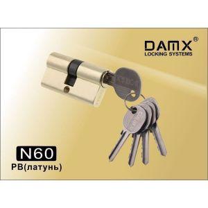 Цилиндровый механизм DAMX NW60 PB ключ-ключ полированная латунь