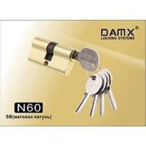 Цилиндровый механизм обычный ключ-ключ N60mm DOMAX SB матовая латунь