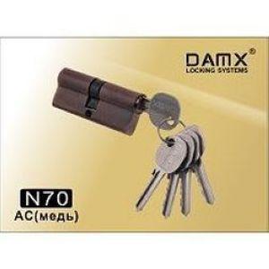 Цилиндровый механизм обычный ключ-ключ N70mm DOMAX AC медь