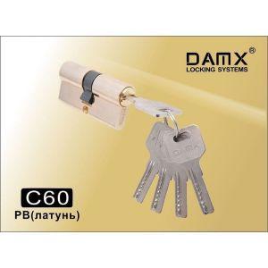 Цилиндровый механизм DAMX C60 PB перфо ключ-ключ полированная латунь