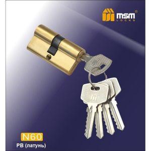 Цилиндровый механизм MSM NW60 PB ключ-ключ полированная латунь