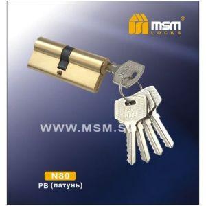 Цилиндровый механизм MSM NW80 PB ключ-ключ полированная латунь