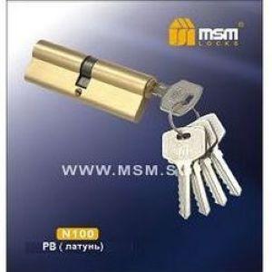 Цилиндровый механизм обычный ключ-ключ N100mm PB полированная латунь
