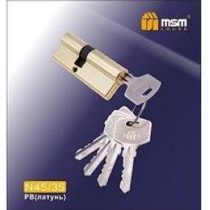 Цилиндровый механизм обычный ключ-ключ N45/35mm PB полированная латунь