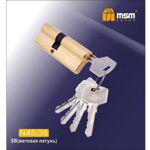 Цилиндровый механизм MSM 45/35 SB ключ-ключ матовая латунь