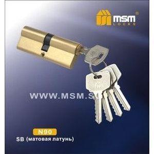 Цилиндровый механизм обычный ключ-ключ N90mm SB матовая латунь