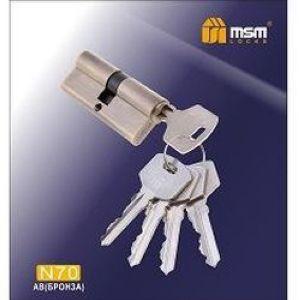 Цилиндровый механизм обычный ключ-ключ N70mm AB бронза