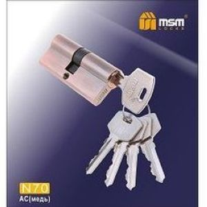 Цилиндровый механизм обычный ключ-ключ N70mm AC медь