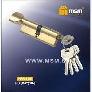 Цилиндровый механизм обычный ключ-вертушка NW100mm PB полированная латунь