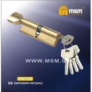 Цилиндровый механизм обычный ключ-вертушка NW100mm SB матовая латунь