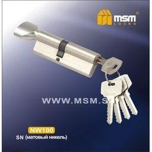 Цилиндровый механизм обычный ключ-вертушка NW100mm SN матовый никель
