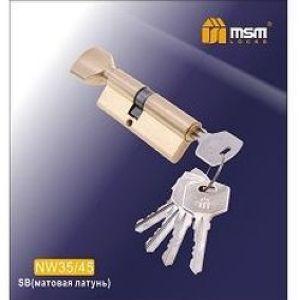 Цилиндровый механизм обычный ключ-вертушка NW35/45mm SB матовая латунь