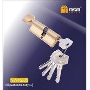 Цилиндровый механизм обычный ключ-вертушка NW45/35mm SB матовая латунь