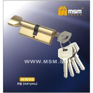 Цилиндровый механизм MSM NW80 PB ключ-вертушка полированная латунь