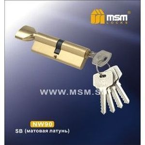 Цилиндровый механизм обычный ключ-вертушка NW90mm SB матовая латунь