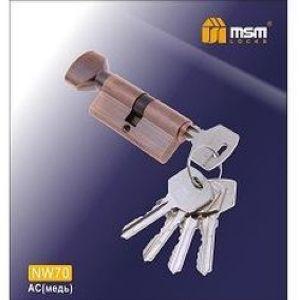 Цилиндровый механизм обычный ключ-верту NW70mm AC медь