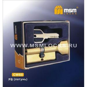 Цилиндровый механизм MSM CW60 PB перфо ключ-вертушка полированная латунь