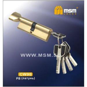 Цилиндровый механизм MSM CW90 PB перфо ключ-вертушка полированная латунь