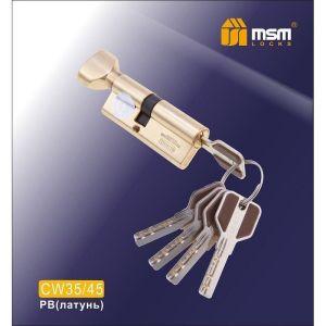 Цилиндровый механизм MSM CW35/45 PB перфо ключ-вертушка полированная латунь