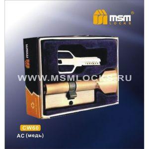 Цилиндровый механизм MSM CW60 AC перфо ключ-вертушка медь