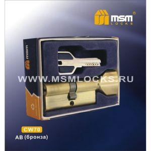 Цилиндровый механизм MSM CW70 AB перфо ключ-вертушка бронза