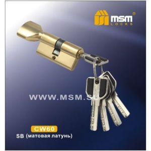 Цилиндровый механизм MSM CW60 SB перфо ключ-вертушка матовая латунь