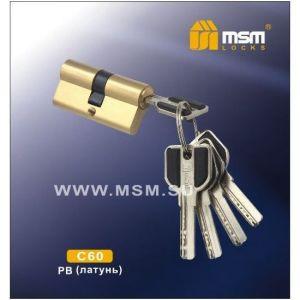 Цилиндровый механизм MSM C60 PB перфо ключ-ключ полированная латунь