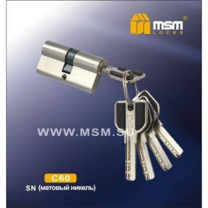 Цилиндровый механизм MSM C60 SN перфо ключ-ключ матовый никель