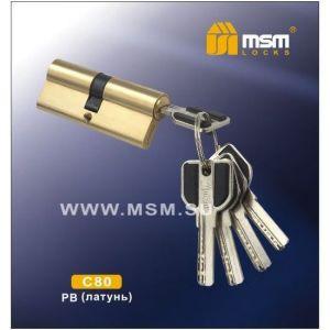 Цилиндровый механизм MSM C80 PB перфо ключ-ключ полированная латунь