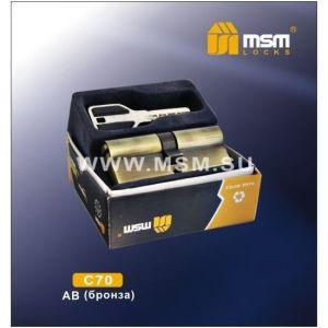 Цилиндровый механизм MSM C70 AB перфо ключ-ключ бронза