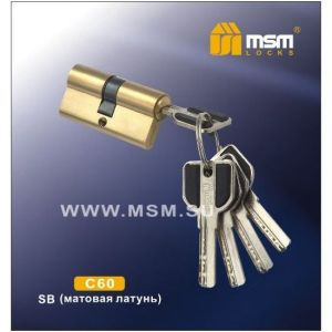 Цилиндровый механизм MSM C60 SB перфо ключ-ключ матовый никель