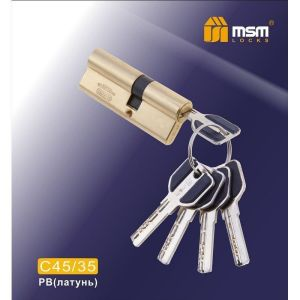 Цилиндровый механизм MSM C45/35 PB перфо ключ-ключ полированная латунь