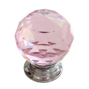 Ручка мебельная KL-1006 Ф30 (розовый/хром)