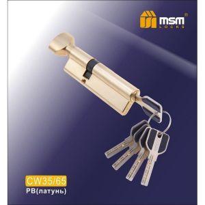 Цилиндровый механизм MSM CW35/65 PB перфо ключ-вертушка полированная латунь