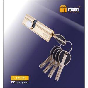 Цилиндровый механизм MSM C65/35 PB перфо ключ-ключ полированная латунь