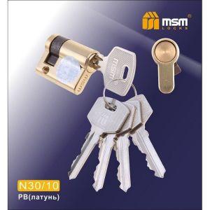 Цилиндровый механизм MSM 30/10 PB обычный ключ-ключ полированная латунь