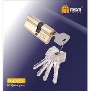 Цилиндровый механизм обычный ключ-ключ N40/30mm PB полированная латунь