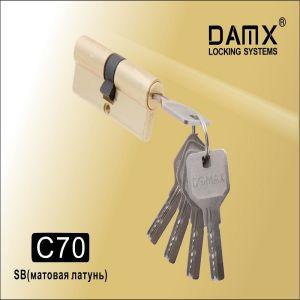 Цилиндровый механизм перфо ключ-ключ C70 DAMX SB матовое золото