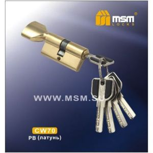 Цилиндровый механизм MSM CW70 PB перфо ключ-вертушка полированная латунь