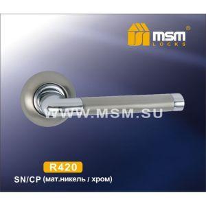 Ручки на кругл. накладке R420 SN/CP ( матовый никель/хром)
