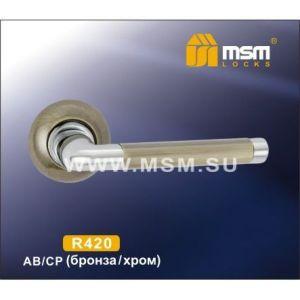 Ручки на кругл. накладке R420 AB/CP ( бронза/хром)