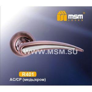 Ручки на кругл. накладке R401 AC/CP  (медь/хром)