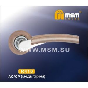 Ручки на кругл. накладке R410 AC/CP  (медь/хром)